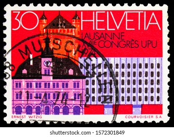 MOSCOW, RUSSIA - SEPTEMBER 30, 2019: Postage stamp printed in Switzerland shows Lausanne; Venue of the UPU congress, U.P.U. (Universal Postal Union), Centenary serie, circa 1974
