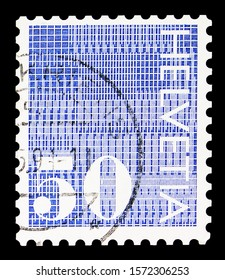 """MOSCOW, RUSSIA - SEPTEMBER 30, 2019: Postage stamp printed in Switzerland shows Digits """"50"""" on patterned background, Numeral serie, circa 1970"""