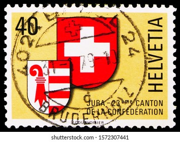 MOSCOW, RUSSIA - SEPTEMBER 30, 2019: Postage stamp printed in Switzerland shows Coat of Arms of Jura and Switzerland, Jura 23rd Canton serie, circa 1978