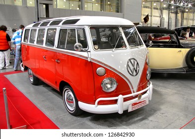 MOSCOW, RUSSIA - SEPTEMBER 30: German Volkswagen Transporter van presented at the annual motor show Ilya Sorokin's Oldtimer Gallery on September 30, 2012 in Moscow, Russia.