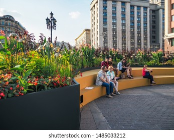 """MOSCOW, RUSSIA - SEPTEMBER 6, 2018: The """"Flower Jam"""" Festival and Open International Competition of Urban Landscape Design in Moscow."""
