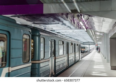 "Moscow, Russia - September 7, 2016: The station ""Tekhnopark"" on the Moscow Metro's Zamoskvoretskaya Line"
