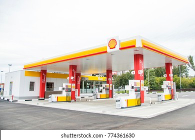 MOSCOW, RUSSIA - SEPTEMBER 7 2016: New Shell petrol station in Moscow, Russia September 7, 2016. Royal Dutch Shell is integrated in every area worldwide  including Russia despite crisis of economy.