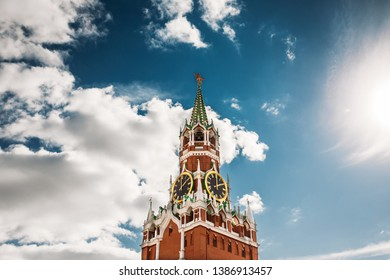 Moscow, Russia. Spasskaya Tower Moscow Kremlin, Red Square. Saviour Tower', Is The Main Tower. Famous Landmark. UNESCO World Heritage Sites.