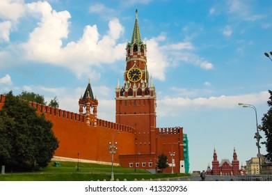 MOSCOW. Russia. Spasskaya Tower and Tower of the Moscow Kremlin Nabatnaya