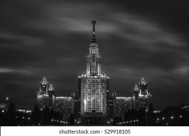 Moscow, Russia. Moscow State University at night during the rain. Popular landmark in Moscow the capital of Russia. Dark sky, black and white