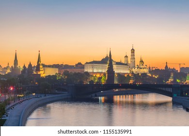 Moscow Russia, sunrise city skyline at Kremlin Palace Red Square and Moscow River