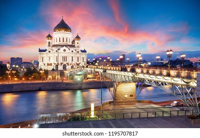 Moscow, Russia - Sunset view of Cathedral of Christ the Savior