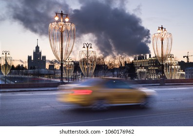 MOSCOW, RUSSIA: Taxi cab at the dawn.