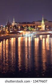 Moscow, Russia. View on Kremlin with Bolshoy Kamenny Bridge across the Moskva River.