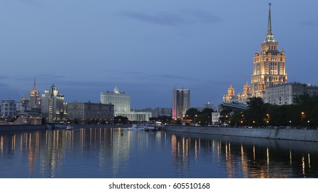 Moscow Russia View on the River Bridge and the Government Buildings at Night.