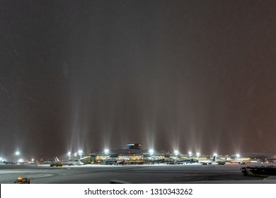 MOSCOW, RUSSIA. Vnukovo international airport, 12.26.2018 The main terminal of the airport Night blizzard