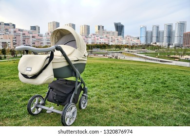 MOSCOW, RUSSIA - Walking with stroller around new modern park Khodynskoye Pole (Khodynka) in the center of Moscow city.