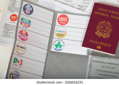 Moscow, Russia.02/14/2018. Electoral package for Italian residents abroad, Italian passport, ballot papers.Translation from Italian on the pass - EU, Italian Republic