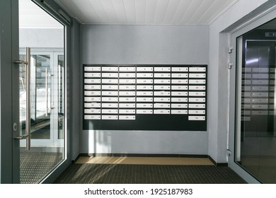 Moscow, Russia-25 02 2021: mailboxes in the lobby of an apartment building
