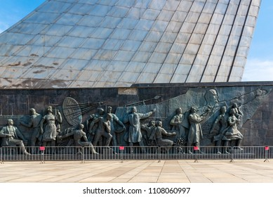 Moscow, Russia-APR10, 2018: The monument to the Conquerors of Space on April10,2018 at Moscow,Russia.It was celebrated achievements of the Soviet people in space exploration.