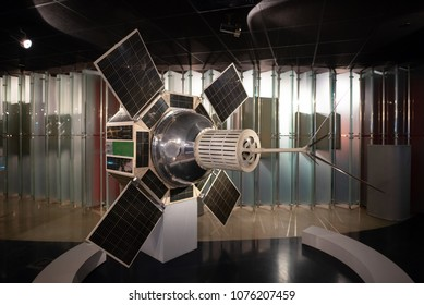 Moscow, Russia-APR10, 2018: Satellite model details on display inside of Museum of Cosmonautics on April10,2018 at Moscow,Russia.