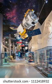 MOSCOW, RUSSIA-APR10, 2018: Satellite module details on display inside of Museum of Cosmonautics on April10,2018 at Moscow,Russia.