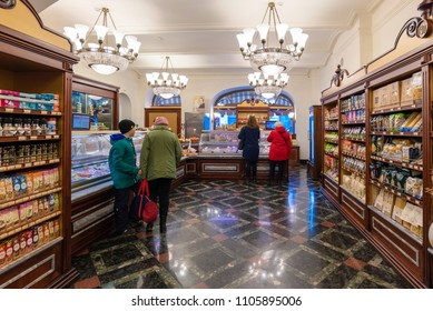MOSCOW, RUSSIA-APR8, 2018:Tourists inside super market in GUM department store shopping mall at Red Square on April8,2018 in Moscow,Russia