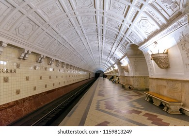 Moscow, Russia-APR8,2018 : Interior of Belorusskaya subway station on April8,2018 in Moscow, Russia. Moscow metro stations is a rapid transit system serving have very beautiful architectural design.