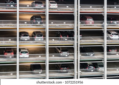 Moscow, Russia-April 10, 2018: multi-Level Parking for cars with modern fire fighting and evacuation systems in Moscow. Russia