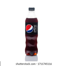 Moscow, Russia-April 2020: plastic bottle of Pepsi Cola MAX 0.5 liters on a white background. Zero calories Pepsi soft drink bottle isolated on white background.