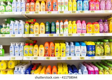 Moscow, Russia-April 24.2016. Shampoo for children in large store network Auchan
