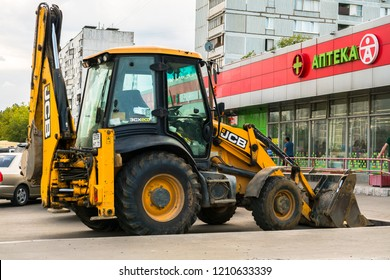 MOSCOW, RUSSIA,AUGUST,12.2018 : Widespread model of the universal backhoe loader of JCB Company (Great Britain).
