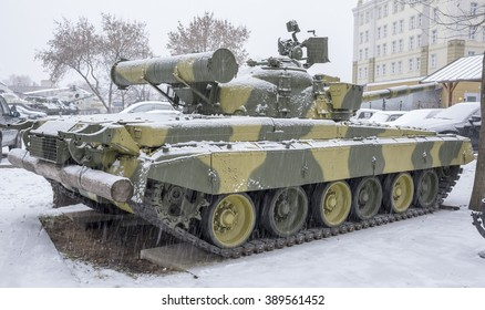 "MOSCOW, RUSSIA-DECEMBER 15- T-80B-The world's first serial tank with a gas turbine engine, nicknamed the ""flying"" at the Museum of technique V.Zadorozhnyj on December 15;2015 in Moscow"