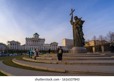 MOSCOW, RUSSIA-December 29, 2019: Monument to Vladimir the Great located in Borovitskaya Square in central Moscow