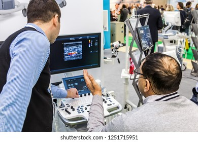 Moscow, Russia-December 4, 2018: 28th international exhibition of Medical equipment, medical products and consumables. Visitors, exhibitors and exhibits at the exhibition.
