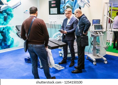 Moscow, Russia-December 4, 2018: 28th international exhibition of Medical equipment, medical products and consumables. Visitors, exhibitors and exhibits at the exhibition
