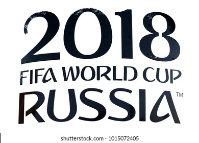MOSCOW, RUSSIA-FEBRUARY 1, 2018: An inscription on a poster in the street of Moscow. 2018 FIFA world cup RUSSIA