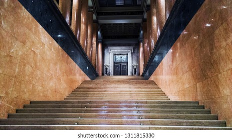 Moscow, Russia-February 10, 2019: hall of Pushkin state Museum of Fine Arts at Vohonka street. Pushkin Museum is the largest museum of European art in Moscow
