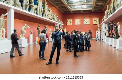 Moscow, Russia-February 10, 2019: visitors to Pushkin State Museum of Fine Arts at Vohonka street. Pushkin Museum is the largest museum of European art in Moscow