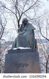Moscow, Russia-February, 16, 2019: Monument to the great Russian writer Nikolai Gogol