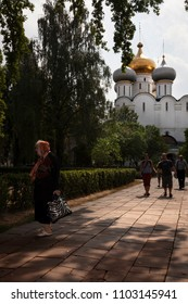 MOSCOW, RUSSIA-JULY 21, 2010. First thing in the morning, parishioners attending Mass Novodevichy Monastery on July 21, 2010