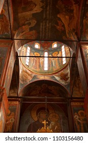 MOSCOW RUSSIA-JULY 21, 2010: Paintings inside an orthodox church in Russia on July 21, 2010