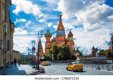 Moscow, Russia-July 25, 2020: St. Basil's Cathedral on Vasilievsky descent on red square on a Sunny day against a bright blue sky.