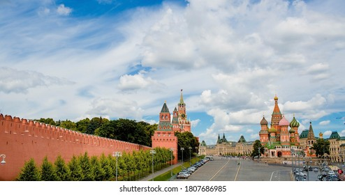 Moscow, Russia-July 25, 2020: St. Basil's Cathedral on Vasilievsky descent on red square on a Sunny day against a bright blue sky. Popular tourist attraction in Moscow.