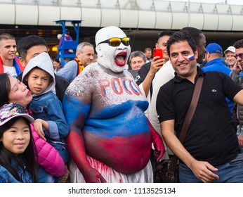 Moscow, Russia-June 14, 2018: world Cup 2018. Fans celebrate the start of the world Cup 2018 on the streets of Moscow