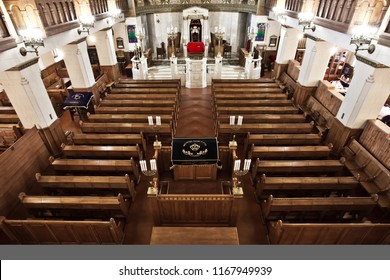Moscow / Russia-June, 22, 2018: Intnnier of the Moscow Choral Synagogue.The device of the synagogue, the top view, the benches, the bima, the holy of holies