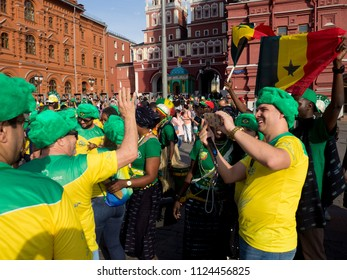Moscow, Russia-June 26, 2018: world Cup 2018. Fans celebrate the start of the world Cup 2018 on the streets of Moscow
