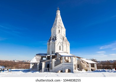 Moscow, Russia-March 09, 2018: Kolomenskoye with ancient Church of the Ascension during the sunny day. Kolomenskoye is a former Royal estate located in the southern part of Moscow.