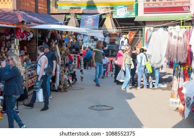 Moscow, Russia-March 23,2018: Daily Flea market full of people in Izmailovo Kremlin, people  make purchases in stalls.
