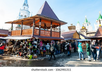 Moscow, Russia-March 23,2018: Flea market in Izmailovo Kremlin and museum complex, crowd of tourists do shopping.