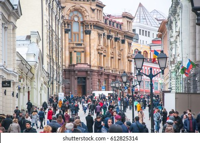 Moscow, Russia-March 23:Kuznetsky Most shopping street full of people, the Moscow International Commercial Bank is visible in the distance on March 23, 2017 in Moscow, Russia.