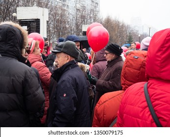 MOSCOW, RUSSIA-MARCH 24, 2019: Rally against the construction of a shopping center in the courtyard of residential buildings
