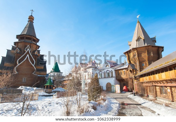 Moscow, Russia-March-23,2018: Inner yard of Izmailovo Kremlin with rich medieval building and  carving on walls, windows, stairs.