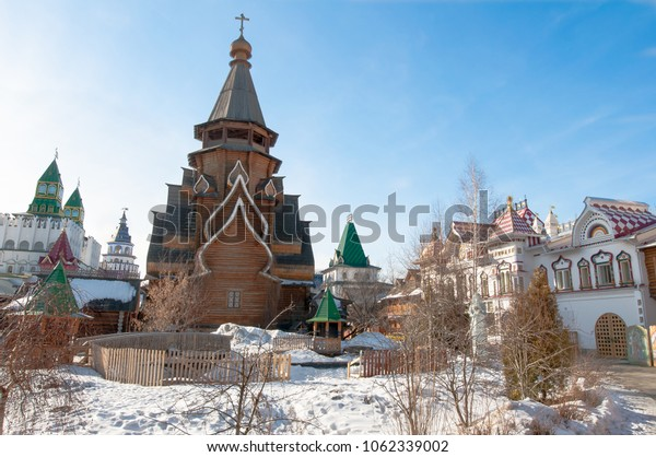 Moscow, Russia-March-23,2018: Inner yard of Izmailovo Kremlin with rich wood carving on walls, windows, stairs.
